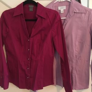 Lot of 2 Ann Taylor/LOFT button down collared tops